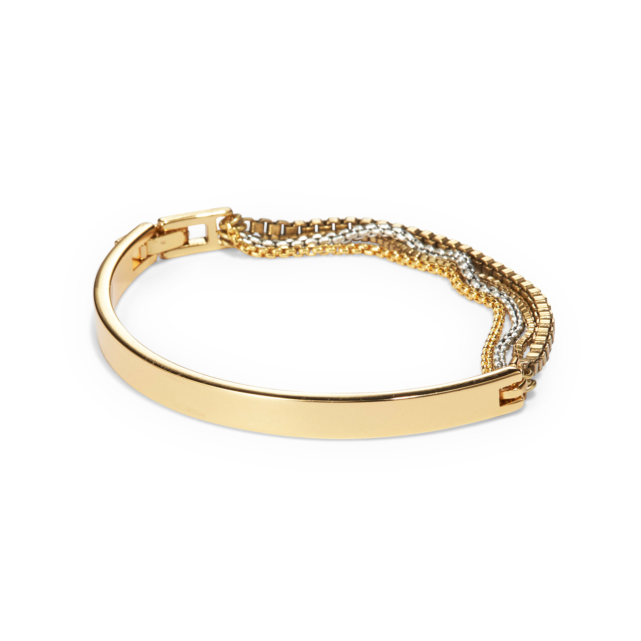 Gold mixed chain and metal bracelet by Jenny Bird with fold-over clasp