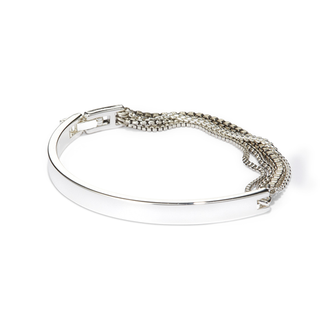 Silver mixed chain and metal bracelet by Jenny Bird with fold-over clasp