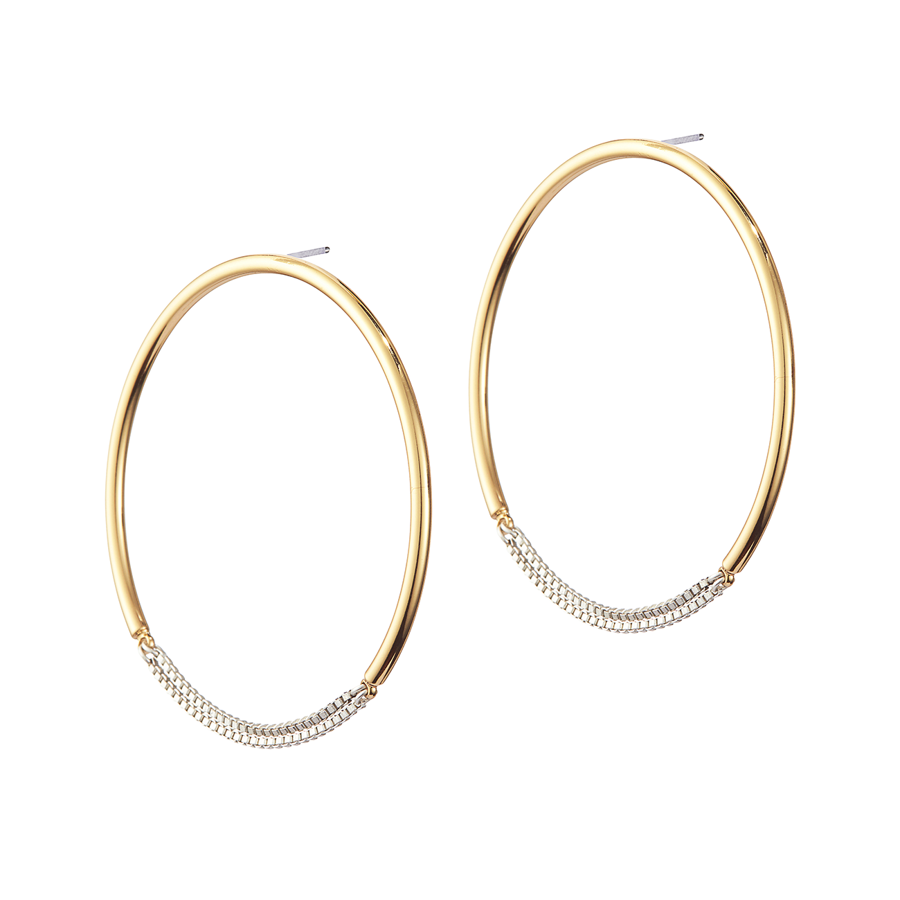 Gold and silver medium chain Sadie Hoops by Jenny Bird