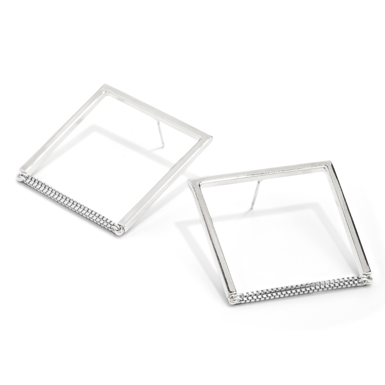 Silver square shaped Nora hoop Earrings by Jenny Bird