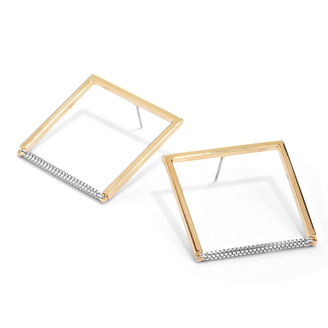 Gold and silver square shaped Nora hoop Earrings by Jenny Bird