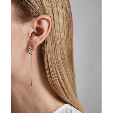 Silver Paloma chain drop earrings by Jenny Bird