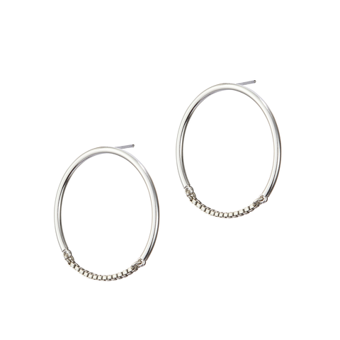 Silver small chain Sadie Hoops by Jenny Bird