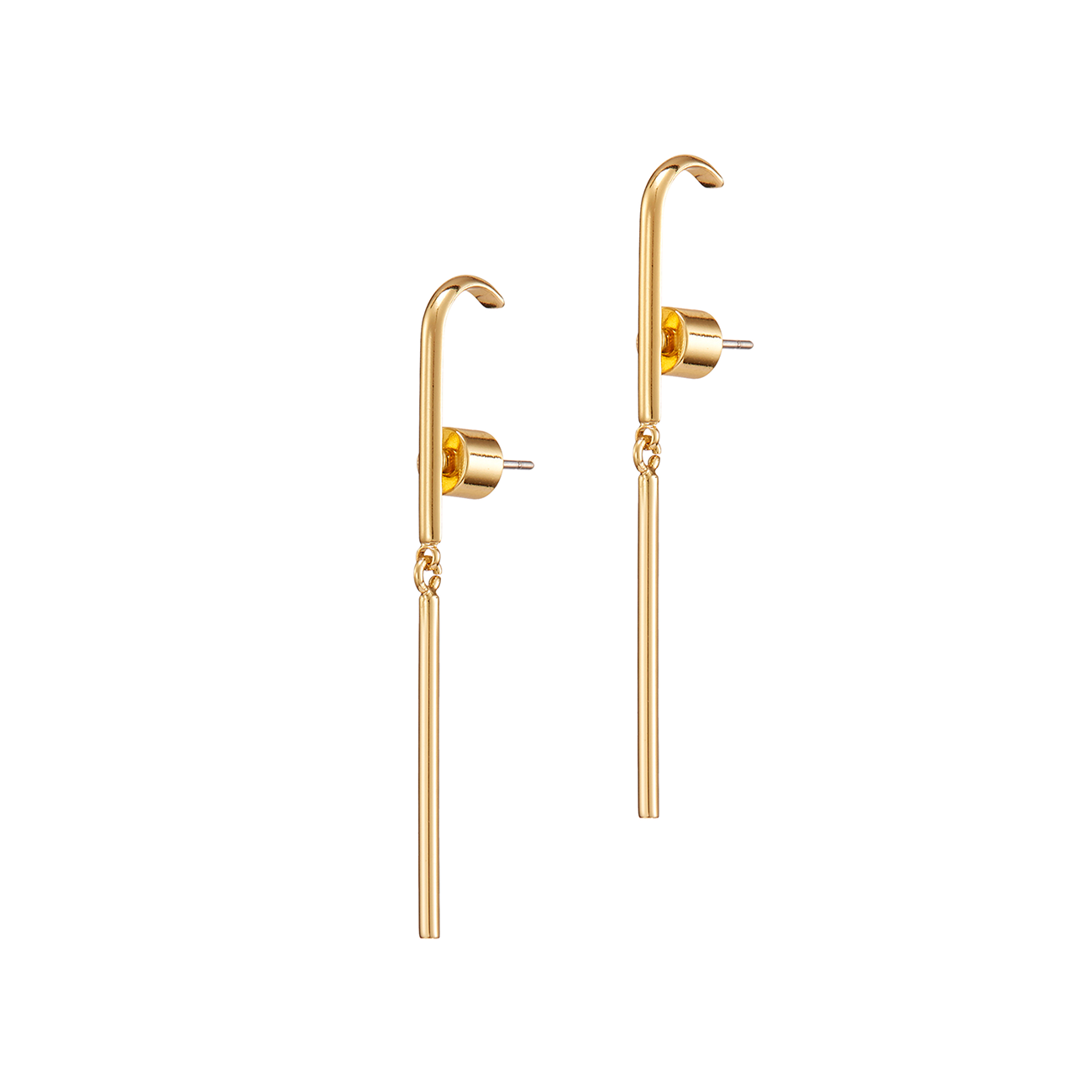 Gold huggie drop Serafina earrings by JENNY BIRD