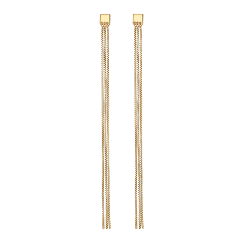 Gold long duster chain Clara Earrings by Jenny Bird