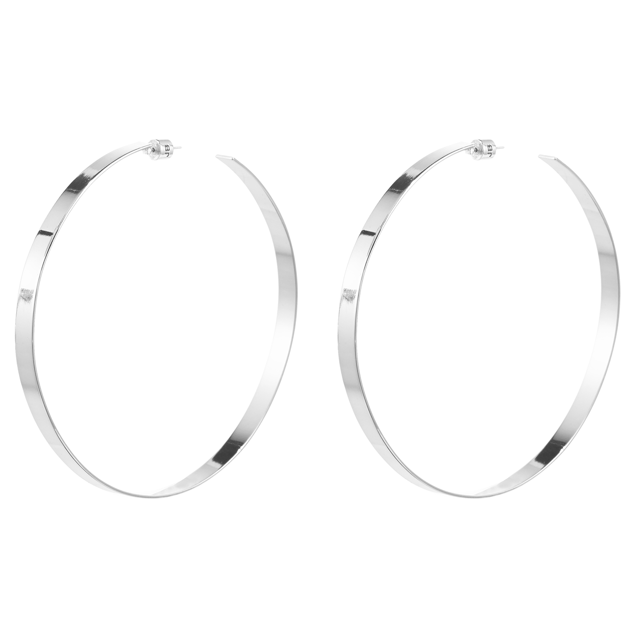 Silver wide hoop Crista Cober Hoops earrings by Jenny Bird