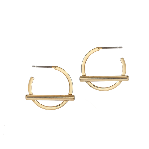 Small gold Trust Hoops earrings by Jenny Bird