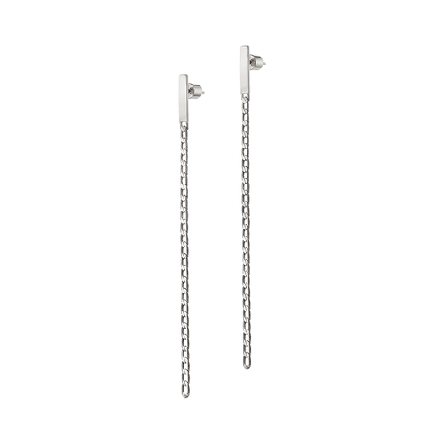 Silver long chain Beau Drops earrings by JENNY BIRD