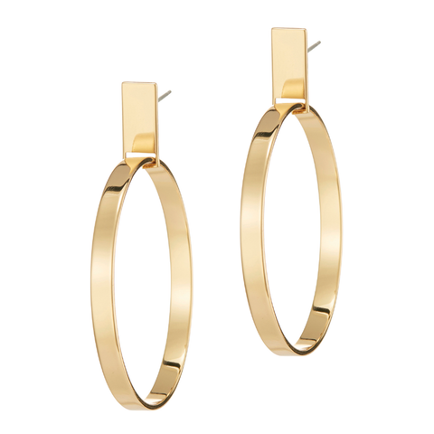 Gold statement rectangular panel Agnes Hoops - Medium earrings in Gold by JENNY BIRD