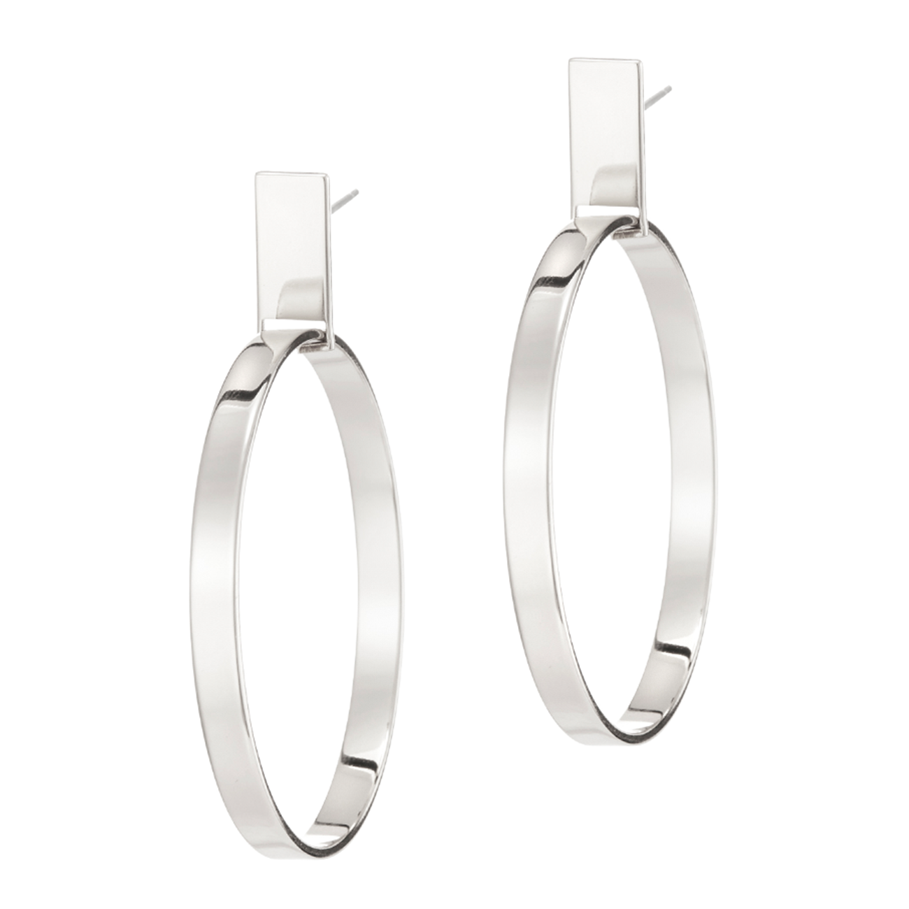 Silver rectangular post Agnes Hoops - Medium earrings by JENNY BIRD