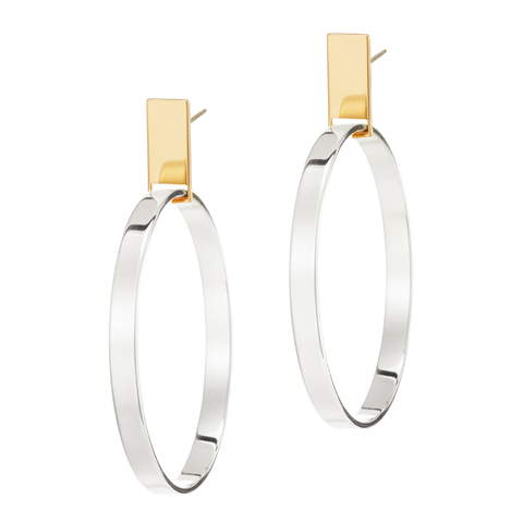 Gold and silver rectangular post Agnes Hoops - Medium earrings by JENNY BIRD