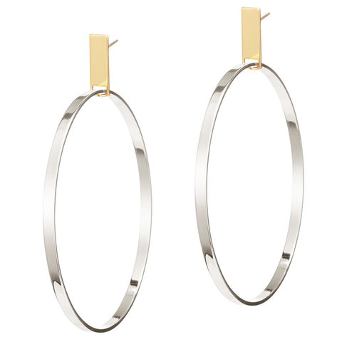 Large rectangle panel Agnes Hoops by JENNY BIRD in Gold and Silver