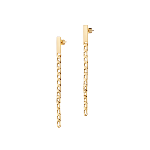 Gold chain Beau Drops - Wide earrings by JENNY BIRD