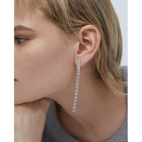 Silver chain Beau Drops - Wide earrings by JENNY BIRD