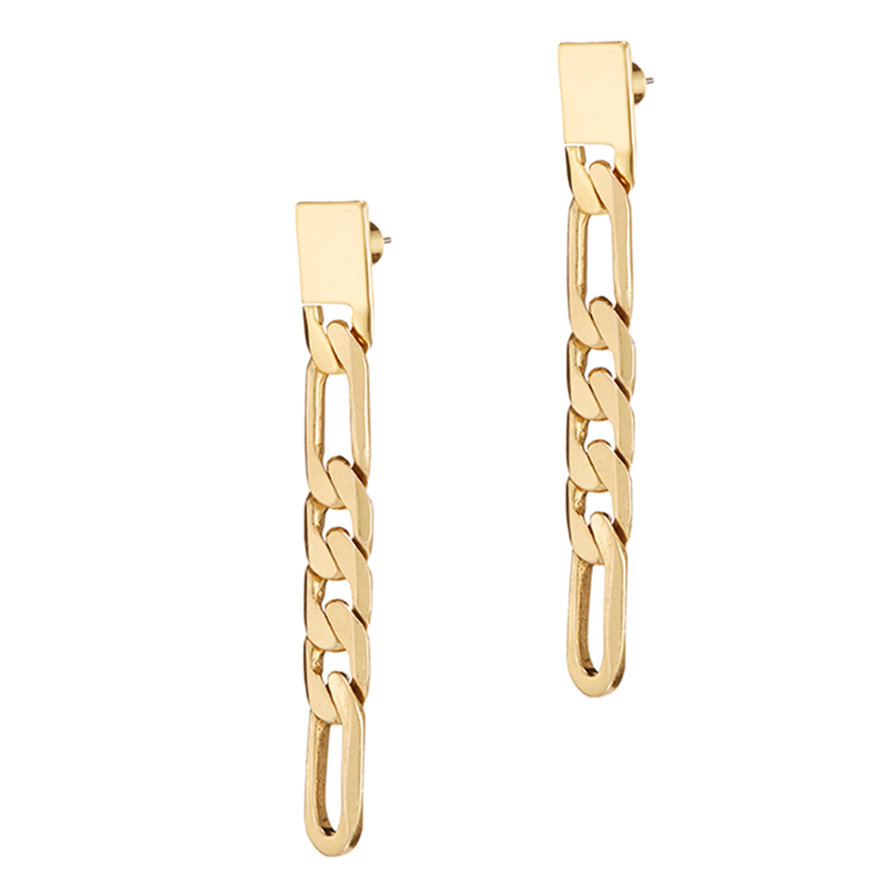 Short figaro chain Landry Drops earrings in Gold by JENNY BIRD