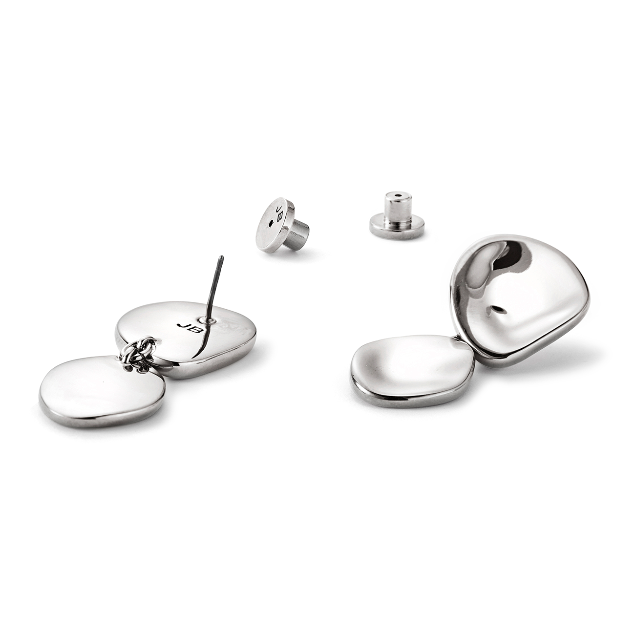 Round, natural shaped drop Mithras earrings in silver by JENNY BIRD