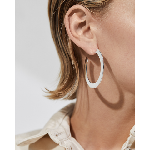 Silver flat Quinn Hoops - Medium earrings by JENNY BIRD