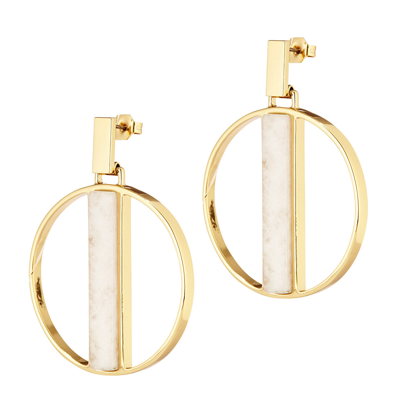 Pollux Hoops by Jenny Bird in Gold with Milky Jade Stone