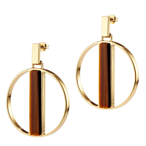 Pollux Hoops by Jenny Bird in Gold with Tiger's Eye Stone