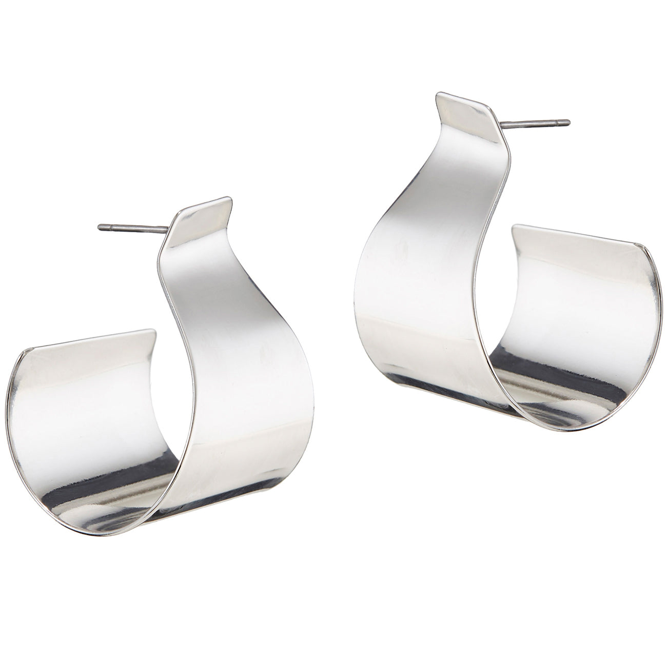 The Dune Hoops by Jenny Bird in Rhodium