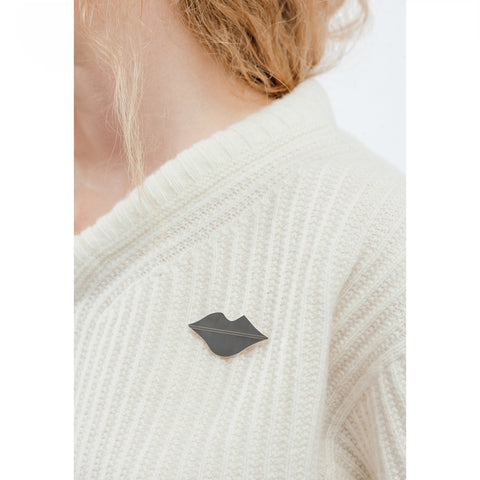 The La Bouche Pin by Jenny Bird in Rhodium