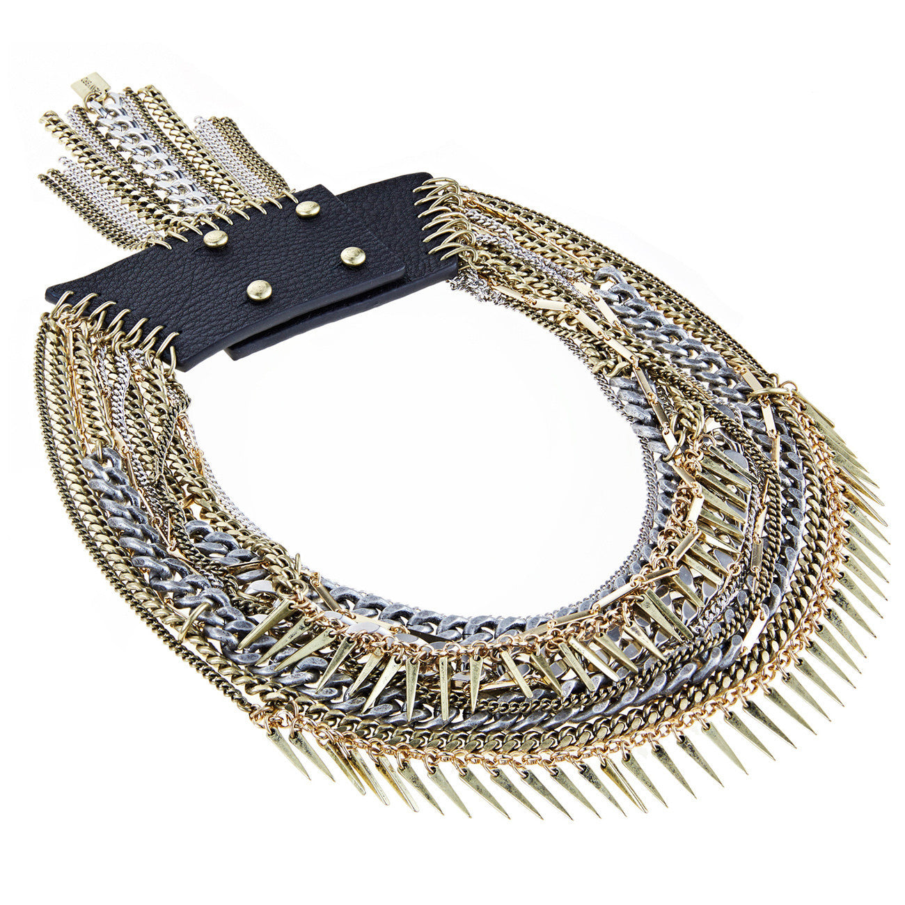Artemis Collar in Mixed Metal and Leather by Jenny Bird
