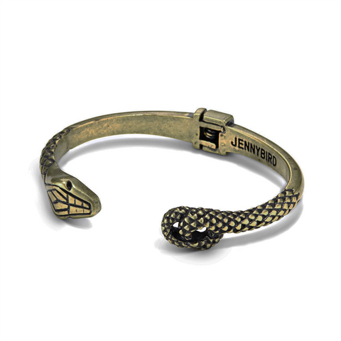 Kundali Serpent Prince Bangle by Jenny Bird in Gold