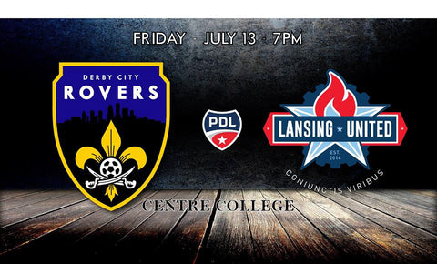 Adult Game Ticket: Derby City Rovers vs Lansing United - July 13, 2018 - 7PM