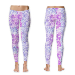 Leggings - Distressed Paisley - Blue/Violet