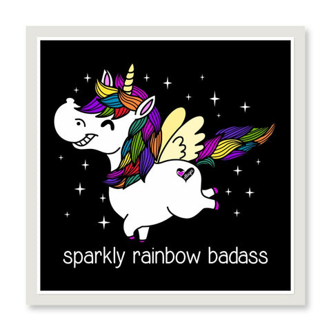 Sticker - Sparkly Rainbow Badass