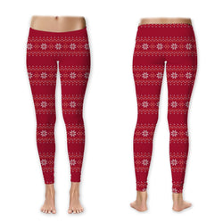Leggings - Sweater Print - Poinsettias
