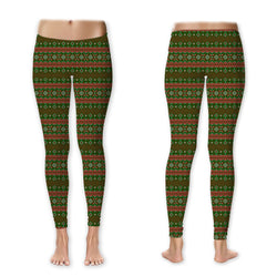 Leggings - Sweater Print - Green and Coral