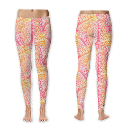 Leggings - Distressed Paisley - Fuchsia/Orange