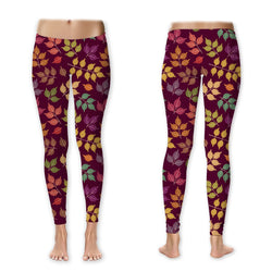 Leggings - Autumn Leaves on Burgundy