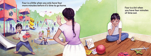 Four is a little, Four is a LOT, a birthday book for four-year-olds, minutes