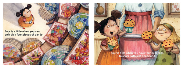 Four is a little, Four is a LOT, a birthday book for four-year-olds, candy and cupcakes