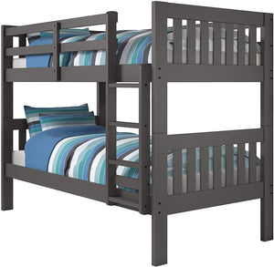 Twin/Twin Size Bunk Bed Grey