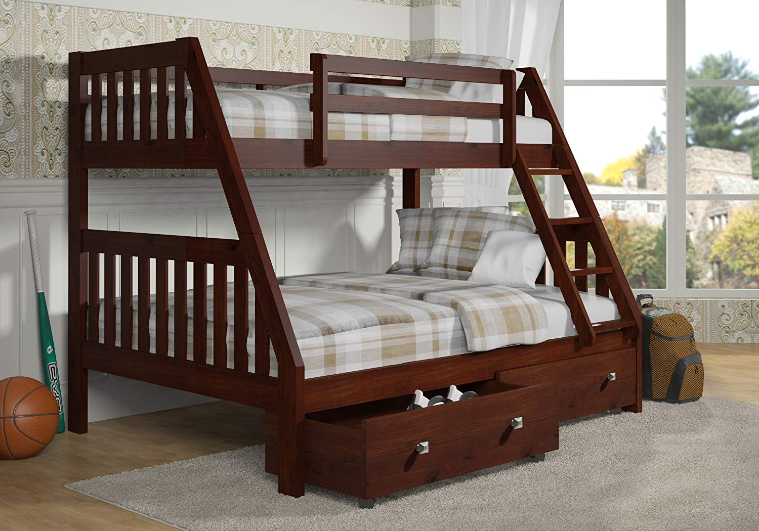 Twin/Full Size Bunk Bed Cappuccino