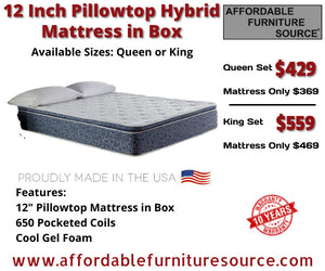 Clearance 12 Inch Pillowtop Hybrid Mattress Set