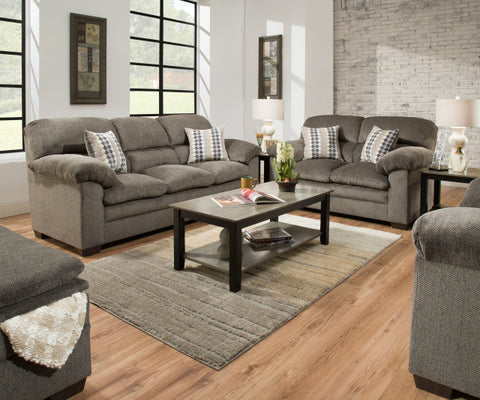 Ash Sofa and Loveseat Grey