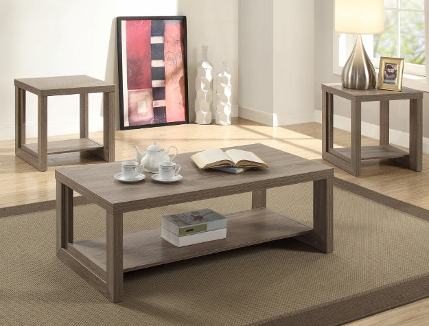 Audra Taupe Coffee and End Table Occasional Set