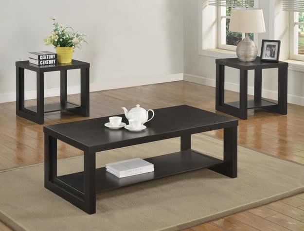 Audra Black Coffee and End Table Occasional Set