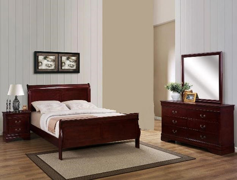 Louis Cherry 4 Piece Bedroom Set