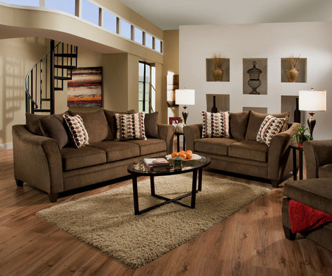 Albany Sofa and Loveseat Chestnut