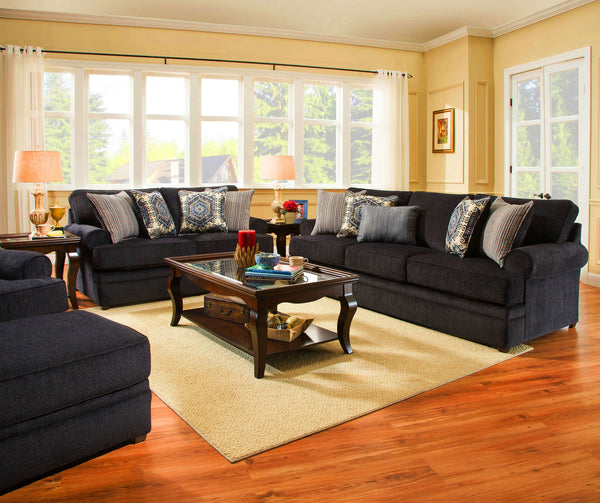 Macy Sofa and Loveseat Navy