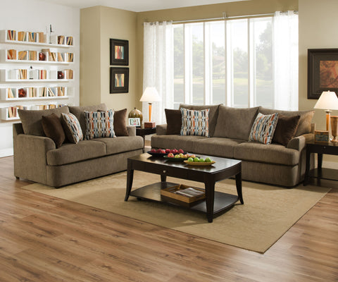 Grandstand Sofa and Loveseat Walnut