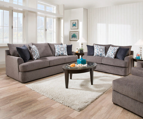 Grandstand Sofa and Loveseat Grey