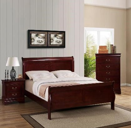 Louis Cherry 3 Piece Bedroom Set