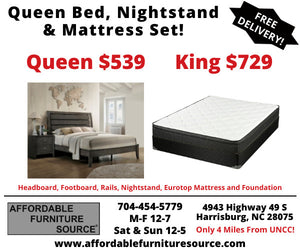 Bed and Nightstand Package Deal