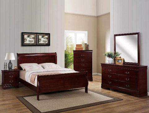 Louis Cherry 5 Piece Bedroom Set
